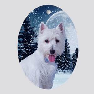 WestieWinterCard Oval Ornament