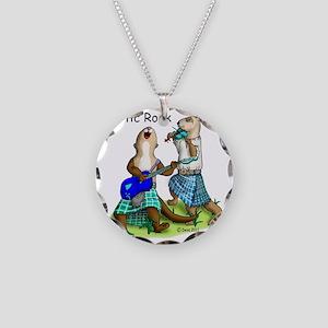 Celtic Rock Ferrets white Necklace Circle Charm