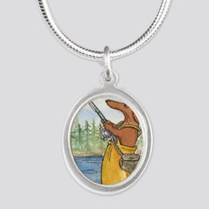 flyfishing8x10 Silver Oval Necklace