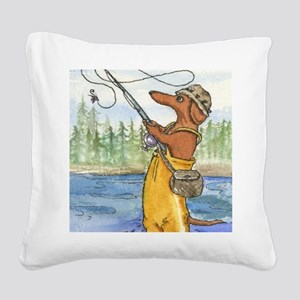 flyfishing8x10 Square Canvas Pillow