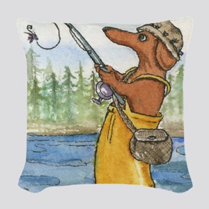 flyfishing8x10 Woven Throw Pillow