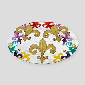 Fleur de lis party Oval Car Magnet