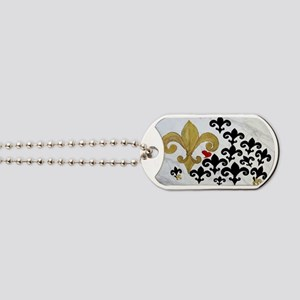 Black  gold Fleur de lis party Dog Tags