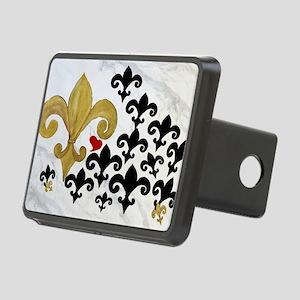 Black  gold Fleur de lis p Rectangular Hitch Cover