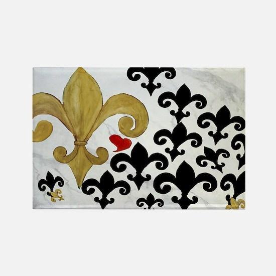 Black  gold Fleur de lis party Rectangle Magnet