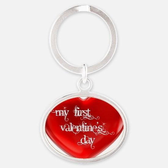 My First Valentines Day Oval Keychain