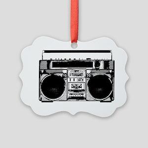 boomboxWHITE Picture Ornament