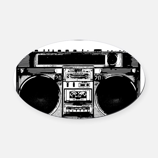 boomboxWHITE Oval Car Magnet