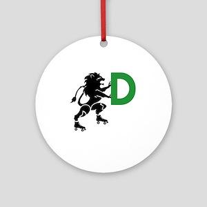 BLACK_DDD_LION Round Ornament