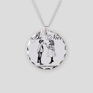Be-Nice-blackonwhite Necklace Circle Charm