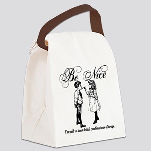 Be-Nice-blackonwhite Canvas Lunch Bag