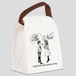 Be-Nice-blackonwhite Canvas Lunch Bag