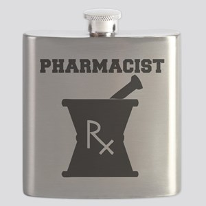 Pharmacist-4-blackonwhite Flask