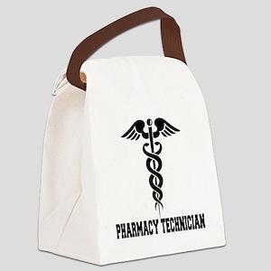 Pharmacy-Technician-1---blackonwh Canvas Lunch Bag