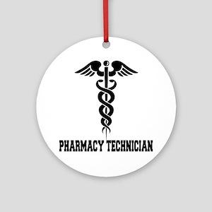 Pharmacy-Technician-1---blackonwhit Round Ornament