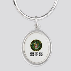 US Army Symbol Silver Oval Necklace