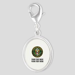 US Army Symbol Silver Oval Charm