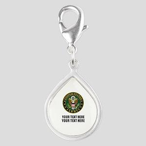 US Army Symbol Silver Teardrop Charm