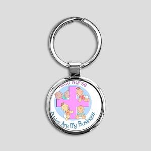 NICU Nurse 2012 4 babies Round Keychain