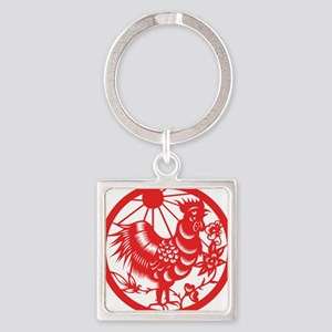 ChineseZodiacRoosterB Square Keychain