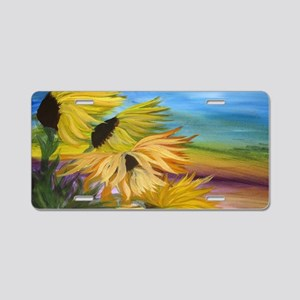 Sunflower Field Aluminum License Plate