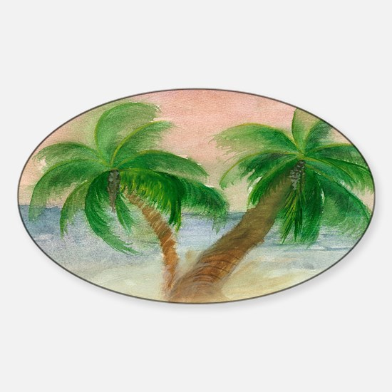 Twin Palms Sticker (Oval)