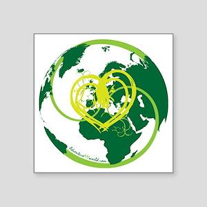 """I heart Adventure - Green Square Sticker 3"""" x 3"""""""