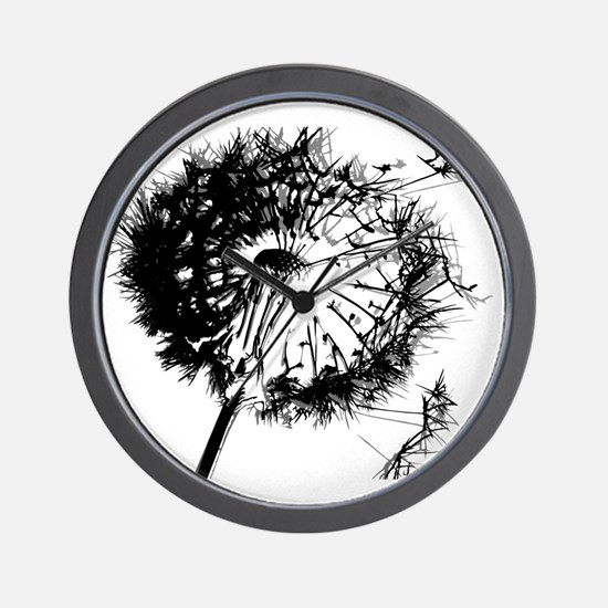 Dandelion BlackGrey Wall Clock