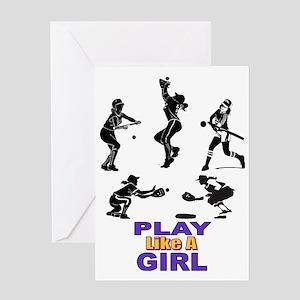 PLAY LIKE A GIRL Greeting Card