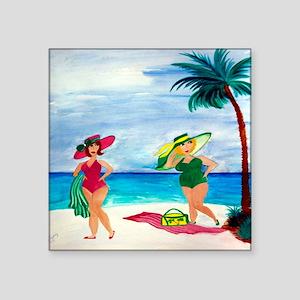 "Beach Babes Square Sticker 3"" x 3"""