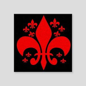 """Red Fleur de lis Square Sticker 3"""" x 3"""""""