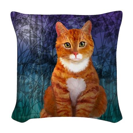 Orange Tabby Cat Woven Throw Pillow