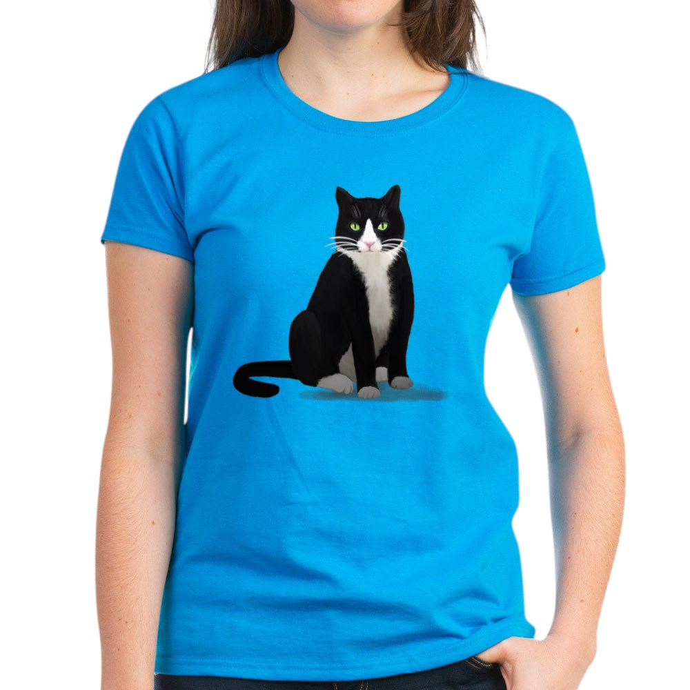 CafePress-Tuxedo-Kitty-Cat-Women-039-s-Dark-T-Shirt-Womens-T-Shirt-1092773842 thumbnail 42