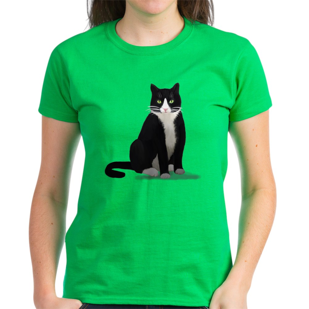CafePress-Tuxedo-Kitty-Cat-Women-039-s-Dark-T-Shirt-Womens-T-Shirt-1092773842 thumbnail 64