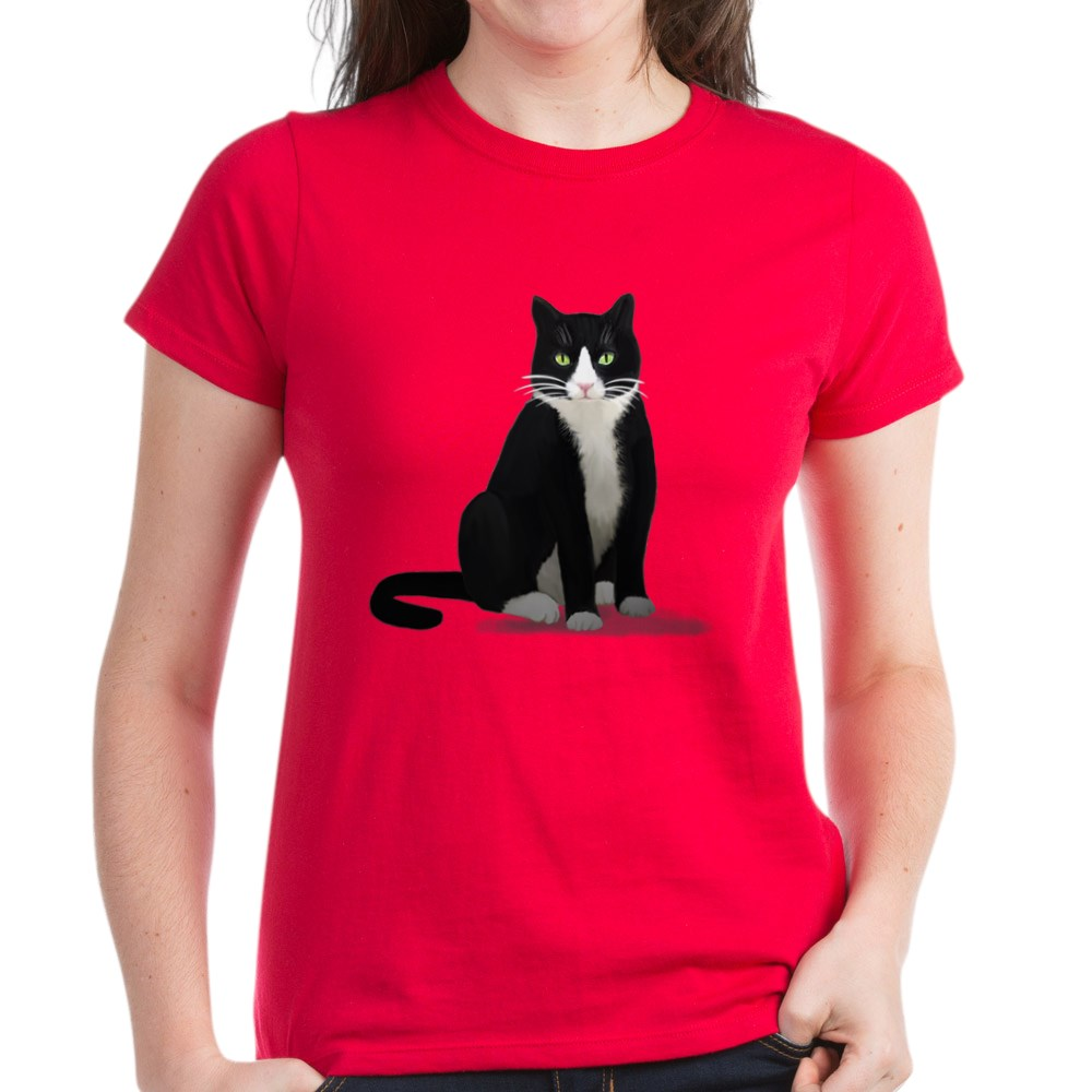 CafePress-Tuxedo-Kitty-Cat-Women-039-s-Dark-T-Shirt-Womens-T-Shirt-1092773842 thumbnail 18