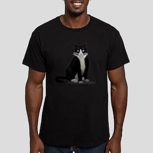 Tuxedo Kitty Cat Men's Fitted T-Shirt (dark)