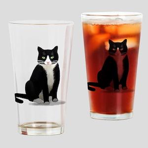 Tuxedo Kitty Cat Drinking Glass