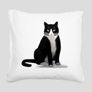 Tuxedo Kitty Cat Square Canvas Pillow