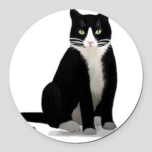 Tuxedo Kitty Cat Round Car Magnet