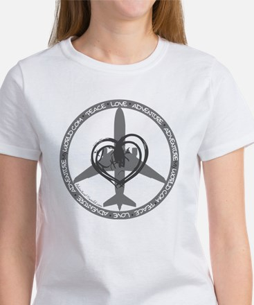 Peace Love Adventure - Gray Women's T-Shirt