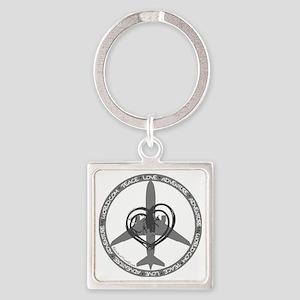 Peace Love Adventure - Gray Square Keychain
