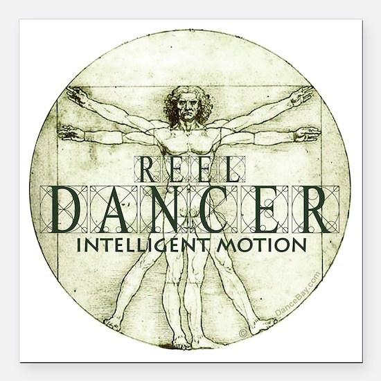 "reel dancer da vinci int Square Car Magnet 3"" x 3"""