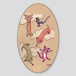 raining-cats Sticker (Oval)