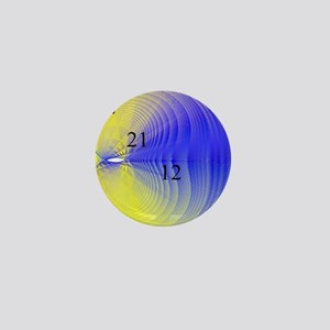Blue and Yellow 12 21 12 Cardioid Mini Button