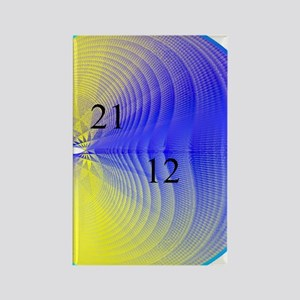 Blue and Yellow 12 21 12 Cardioid Rectangle Magnet