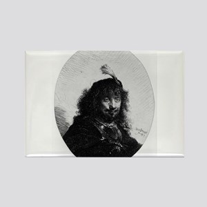 Rembrandt with plumed cap and lowered sabre - Remb