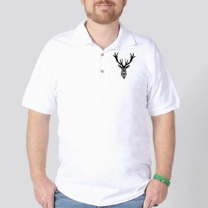 Classic Stag Deer Head Black Grey Animal Golf Shir