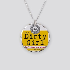 Dirty Girl Logo Necklace Circle Charm