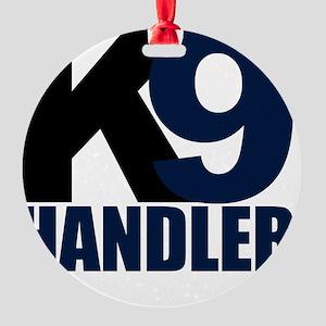 k9-handler02_black_blue Round Ornament