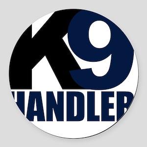 k9-handler02_black_blue Round Car Magnet